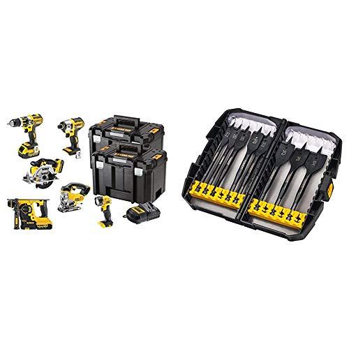 Dewalt DCK699M3T 18V 6 Piece Cordless Kit (3 x 4Ah Batteries) 2 x Tstak Kitboxes, 240 V, Multi, Large & DT7943B-QZ Extreme Flatbit Tough Case Set