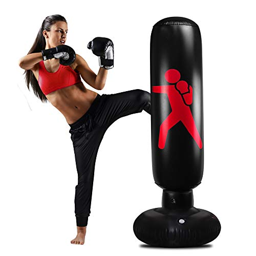 Inflatable Kids Punching Bag, Freestanding Punching Bag for Kids 63Inch Standing Punching Bag with Stand for Adults/Kids Bounce Back for Practicing Kickboxing MMA Karate (Athletic)