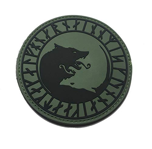 "The OD Green Viking ""ÚLFHÉÐNAR, NO Mercy, ONLY Violence Wolf Rune PVC 3.5"" Tactical Morale Patch (Hook/Loop)"