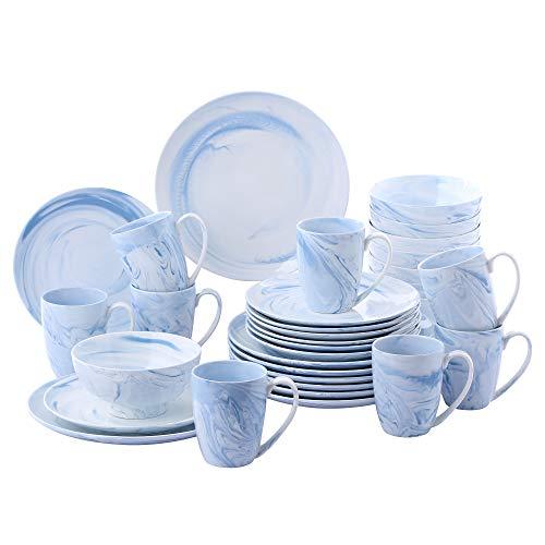vancasso, série Clara, Service de Table Porcelaine Marbre, Service Vaiselle Complet 32 Pièces pour 8 Personnes, Assiette Plate Creuse, Bols Céréales, Tasse