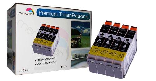 Merotoner T0711 - Juego de 4 cartuchos de tinta negra para impresoras EPSON Stylus SX218, SX515W, SX510W, SX115, SX200, SX400, SX105, SX415, SX215, SX205, SX410, SX600FW, SX100, SX405, SX110, S21, SX210, SX610FW, S20 Wifi, DX7450, DX8400, DX4400, DX4450, DX8450, DX6000, DX4050, D120, DX5000, DX7400, DX9400F, D92, DX4000, DX5050, DX6050, D78, DX7000F, DX6050EN, DX8000, BX300F, BX310FN, BX610FW, BX600FW, B40W y Office BX510
