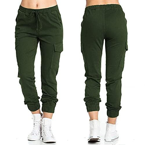 WXMSJN Pantalones Casuales para Mujer Pantalones con Cintura EláStica Pantalones con Bolsillos Laterales Cordones Pantalones