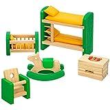 WOOMAX - Set mobiliario casa de muñecas madera Habitación infantil (46470)