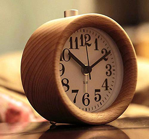 LANKOULI Schlafzimmer Massivholz Kopf Student Wecker Nachttisch stumm Uhr Persönlichkeit faul leuchtende kleine Wecker