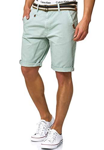 Indicode Herren Cuba Chino Shorts mit 5 Taschen inkl. Gürtel aus 100{bf263302845db6a068a440ea19d52fa057da6a43c113e8f5680f8bda86aaf328} Baumwolle | Kurze Hose Regular Fit Bermudas Sommerhose Herrenshorts Short Men Pants Chinohose für Männer Surf Spray XL