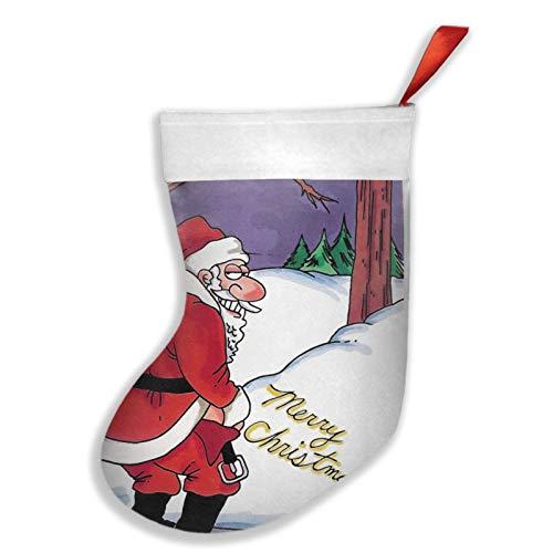Youlimei Merry Christmas FUUNY Santa Peeing Snow Themed Christmas Stockings Decoration Xmas Socks Gift Bag Ornament 18 Inch XL Large Bulk Big Jumbo Home Party Supplies Item Plush