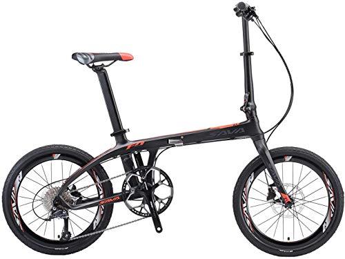 SAVANE Bicicleta plegable Carbono, Z1 Bicicleta plegable de 20 pulgadas Bicicleta plegable Bicicleta plegable portátil Mini bicicleta plegable City con SORA de 9 velocidades y freno de disco hidráulico