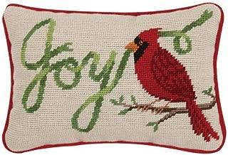 Peking Handicraft Joy Cardinal Bird Christmas Needlepoint Pillow - 6.5