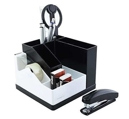 Exerz Organizer da scrivania/Portapenne/Scrivania ordinata/Rotazione a 360° tra cui: nastro adesivo con dispenser, forbici, pinzatrice, punti metallici, penne, righello, gomma(Bianco)