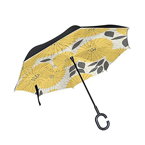 Paraguas plegables Arte De La Flor Amarilla Paraguas Invertido Antiviento Protección contra Rayos UV Ligero Compacto Invertida Paraguas para Coche Viajes Playa Mujeres Niños Niñas