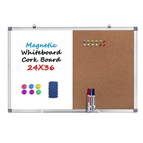 Magnetic Whiteboard and Cork Board Combination Board, Dry Erase Board Bulletin Combo Board for Home Office, Wall Mounted Message Memo Board with Markers, Eraser, Magnets, Push Pin, 36 x 24 Inches