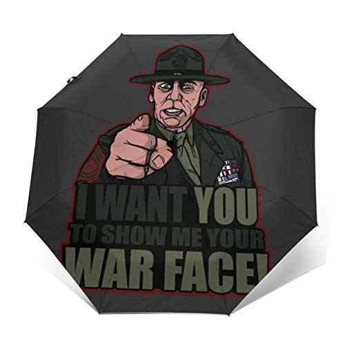 War Face Gunnery SGT. Hartman Vollmetallummantelung, Winddicht, kompakt, automatisch, faltbar, Reise-Sonnenschirm