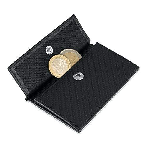 Coin Pocket Münztasche für ZNAP Slim Wallet – Platz für bis zu 10 Münzen – Kleingeldfach, Münzgeldfach, Münzfach, Coin Case zum Einschieben – von SLIMPURO (Carbon)