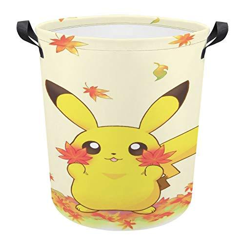 Cestas de lavandería grandes de Pokemon de lona redonda con asas para cuarto de baño de niños, cestas organizador de almacenamiento para ropa, juguetes, 17.3 x 16.5 pulgadas