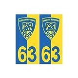 63 ASM Clermont Rugby fond jaune bleu autocollant plaque - Angles : arrondis