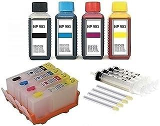 Hervulbare inktpatronen met chips 903 (XL) zwart cyaan magenta geel + 400 ml navulinkt voor OfficeJet 6950, OfficeJet Pro ...