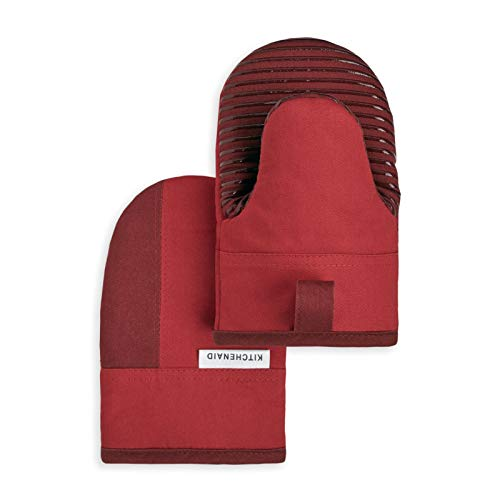 KitchenAid Kitchen Aid Beacon Mini Oven Mitt Set, 5.5'x8', Passion Red/Bordeaux