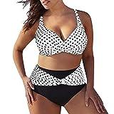 Traje de baño de Talla Grande para Mujer Conjunto de Traje de baño de Cintura Alta con Estampado de Lunares Traje de Bikini Push-up con Sujetador