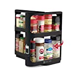 Cabinet Caddy (Black) - Pull-and-Rotate Spice Rack Organizer, Two 2-Tiered Shelves, Modular, Non-Skid Base, Store Prescriptions, Hardware, Essential Oils, Crafts (10.75'H x 5.25'W x 10.75'D)