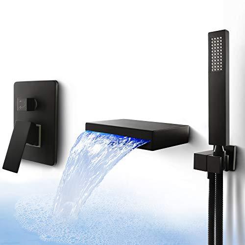 LED Waterfall Bathroom Shower Bathtub Faucet Combo Wall Mount Bathtub Faucet with Handheld Shower Freestanding Jacuzzi Bathtub Mixer, Dr Faucet Matte Black
