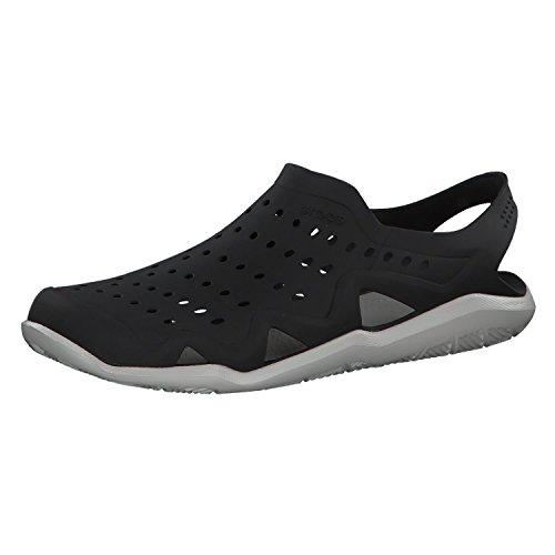 Crocs Men's Swiftwater Wave Shoe Flat, Black/Pearl White, 9