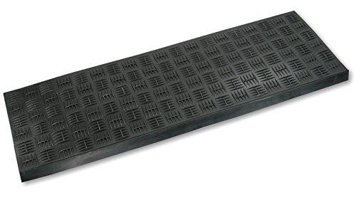 Gummi-Stufenmatte / Treppenmatte schwarz 75x25cm Riefe