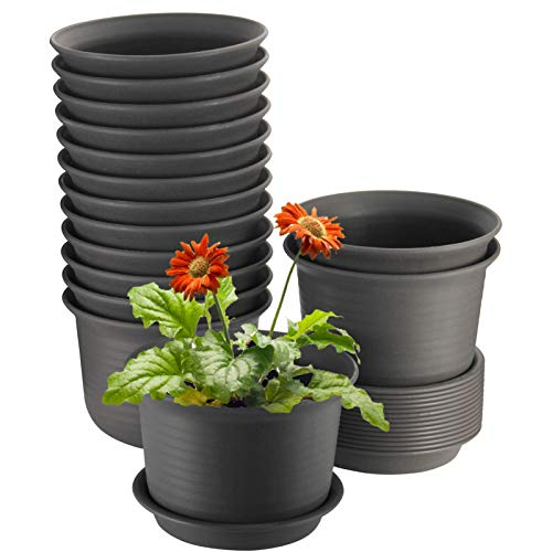Plant Pots, ZOUTOG 6 inch Plastic Planters with Drainage Hole and Tray, Pack of 15 - Plants Not Included, Brown