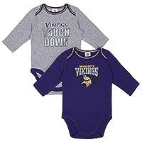 NFL Minnesota Vikings Boys 2 Pack Long Sleeve BODYSUIT, Team Color, 0-3M