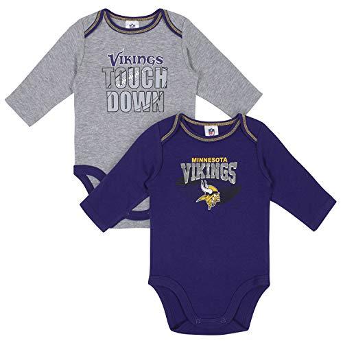 NFL Minnesota Vikings Boys 2 Pack Long Sleeve BODYSUIT, Team Color, 3-6M