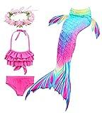 Hifunbay Cola de Sirena Niña para Nadar Incluido Traje de Sirena Baño de Bikini de 3 Piezas y Diadema con Guirnaldas de Flores sin monoaleta (AH52-B07, 120)