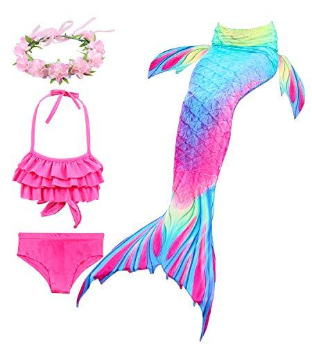 Hifunbay Ragazze Coda da Sirena per Nuotare Bambina Costume da Bagno Incluso 3PCS Bikini e Fiore Garland Archetto No Monopinna (AH52-B07, 120)