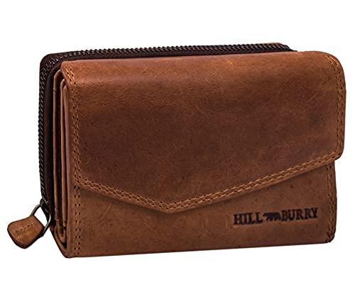 Hill Burry Damen Leder Geldbörse | Vintage Echt-Leder Portemonnaie mit vielen Fächern | Kompakte Geldbeutel - Portmonee | Mit RFID Schutz (Braun)