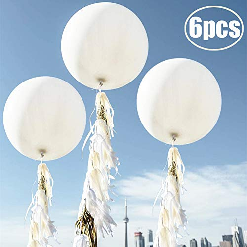 36 Inch Giant Balloons White Balloons(Premium Helium Quality), 6 Pack 36'' Large Latex Balloons for Photo Shoot/Birthday/Wedding Party/Festivals/Event Decorations …