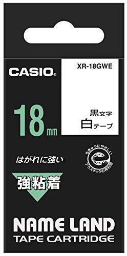 CASIO EZ-Label Printer XR-18GWE Schriftband extra stark selbsthaftend 18 mm x 5,5 m schwarz auf weiß