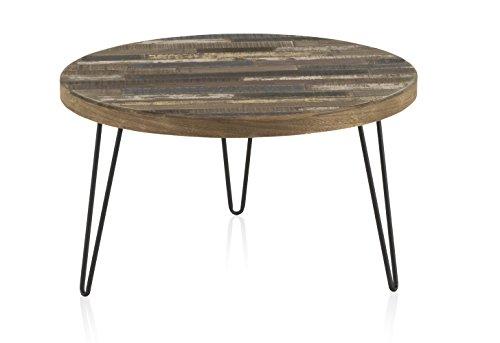 D.G. Quality Mobles - Mesa de Centro Fabricada en Madera de Pino Reciclado con Patas metálicas. Medidas: diámetro 71 cm, Altura 40 cm, Grosor Tablero 4 cm.