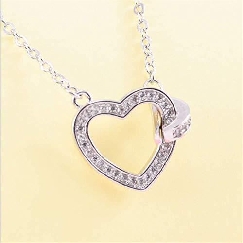 Xianglsp Co.,ltd Collar Cadena De Corazón A Corazón Cadena De Hueso Microincrustación 925 Collar De Amor Doble De Plata Nudo Colgante De Amor Mujer
