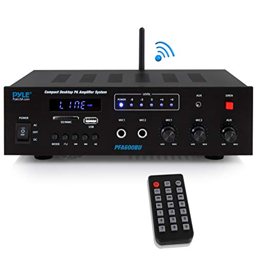 Wireless Bluetooth Karaoke Amplifier  Home Car Bus Tours 300 Watts 2 Channel Digital Home Audio PA Receiver System 2 Microphone Input Control, FM Radio, USB,12 Volt Power Option  Pyle PFA600BU