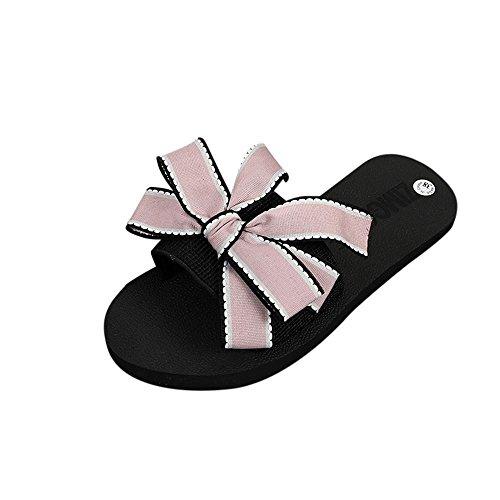 Hausschuhe Damen Schuhe LMMVP Frauen Flip-Flops Strand Sommerschuh Sandalen Badeschuhe Hausschuhe Bad Schuhe Pantoletten Shoes Bow Slipper Sandalen Outdoor Badeschuhe Sandaletten (Rosa, 38)