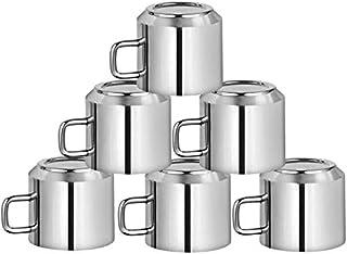 طقم Khandekar غير قابل للكسر مكون من 6 قطع من أكواب الشاي للقهوة مزدوجة الجدار من الفولاذ المقاوم للصدأ، أكواب إسبرسو صغير...