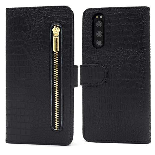 Xperia 5 (SO-01M / SOV41 / 901SO) ケース 手帳型 クロコダイル 柄 ファスナー 付 収納 豊富 ポケット 手帳型ケース 【 ブラック 】