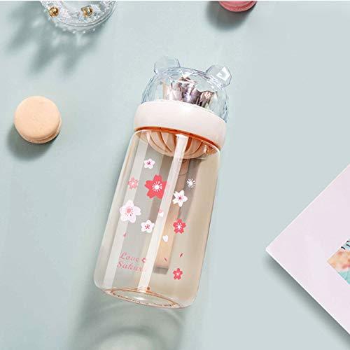 Vasos Botella de agua de plástico Pequeña flor Té con fugas Bebida linda Paja Tapa de silicona Taza de plástico Botella de agua 450Ml