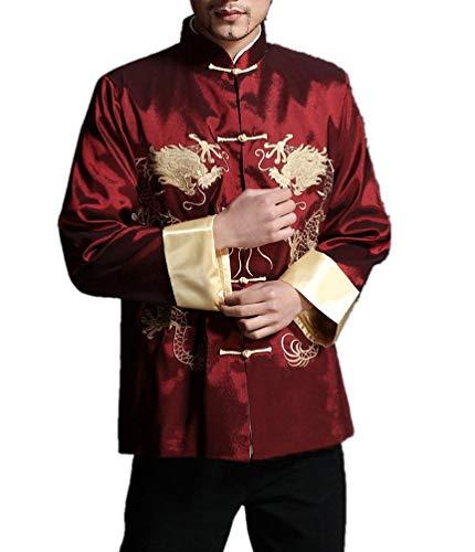 Interact China Stylish Red Kung Fu Men's Blazer Padded Jacket Dragon Shirt - 100% Silk #105 + Free Magazine