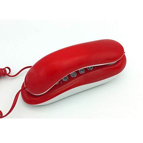 XAOBNIU Teléfono con Cable Teléfono Fijo Gondola Style Hotel Junto a la Cama Pequeña Ajuste del tamaño del Tono de Llamada Extensión (Color : Red)