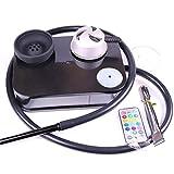 Acrylic Portable Hookah Set with LED Light,Hookah Bowl,Hookah Hose,Black Shisha Kits (Black)