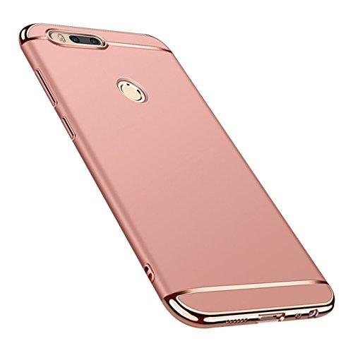 Caler Compatible para Xiaomi Mi A1 / 5X Funda de PC Rígida 3 en 1 Diseño Carcasa Duro Plastico Ultra-Delgado Antigolpes Anti-Rasguño Ligero Elegante Bumper Proteccion Caso (Rosa)