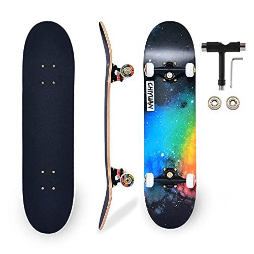 Skateboard Completo per Professionale, Principianti, Bambino, Giovani, Adulti, Skate- 80 x 20cm Tavola in Acero a 7 Strati Carico fino a 150kg