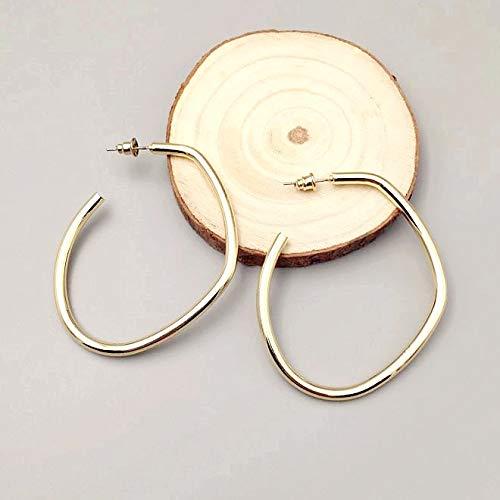 YiXing Pendientes de aro ovalados de metal de diseño simple punk para mujer, joyas geométricas irregulares, accesorio de oreja de fiesta (color metálico: 01 1)