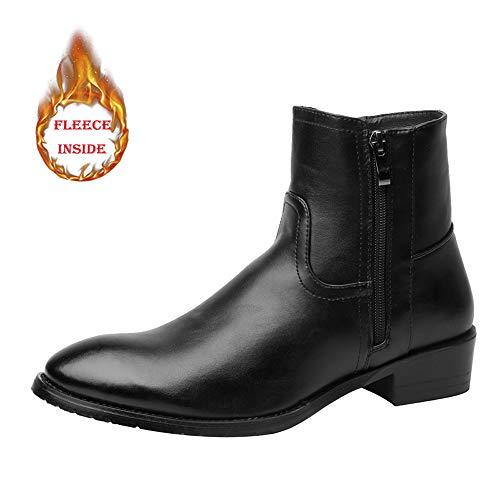 HuiLai Zhang Men's Fashion Enkellaarsjes Warm Velvet Casual Zijrits Boots (Conventionele optioneel) (Color : Black, Size : 46 EU)