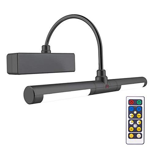 HONWELL-Luz LED Inalámbrica a Batería con Control Remoto, Cabezal de Luz Giratorio de 8.8 Pulgadas con 3 Modos de Iluminación, Regulable Marco Luces Lámpara de Pared para Pintar,Espejo,Color Negro