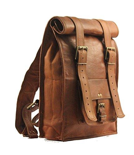 IHV Vintage-Leder-Rucksack und Schultertasche für Herren, M Braun braun M